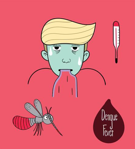 Den manliga tecknade bilden är mycket allvarlig med denguefeber. vektor