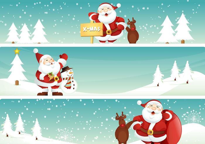 Santa och ren julbanner vektorpaket vektor