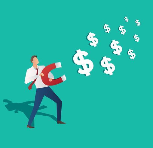affärsidé. affärsman lockar dollar ikon med magnet vektor illustration