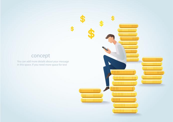 Mann, der das Smartphone sitzt auf Goldmünzen, Geschäftskonzept der digitalen Marketing-Vektorillustration hält vektor