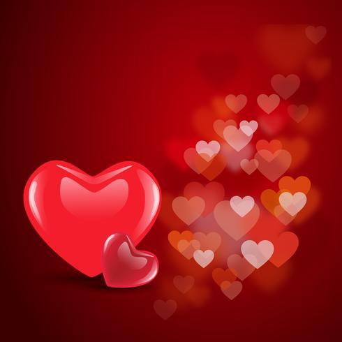Röd valentinhjärtor på blommig dekorativ kärleksbakgrund. EPS 10. vektor