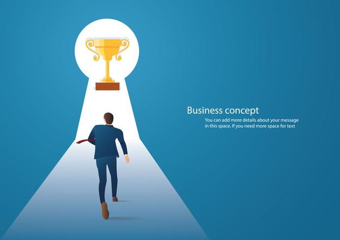infographic Geschäftskonzeptillustration eines Geschäftsmannes, der in die Trophäe im Schlüsselloch geht vektor