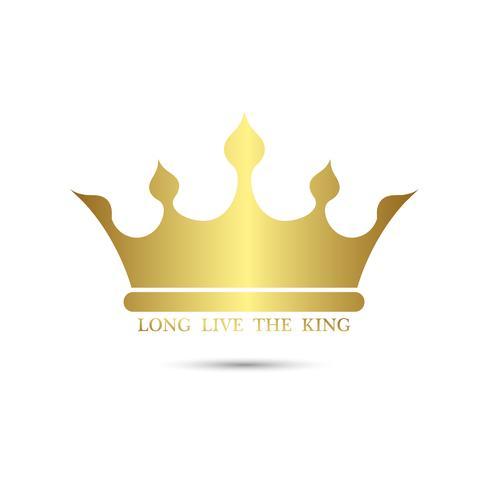 Kron symbol med guldfärg isolat på vit bakgrund, vektor illustration