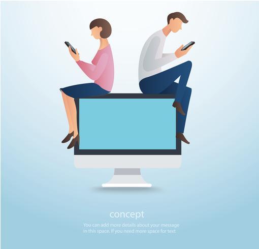 Mann und Frau, die Smartphone verwenden und auf Computer, Konzept der Liebe online sitzen vektor