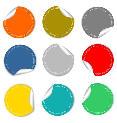 Leere runde Aufkleber auf weißer Hintergrundsammlung vektor