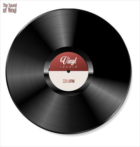 Svart vinyl rekord isolerad på vit bakgrund vektor