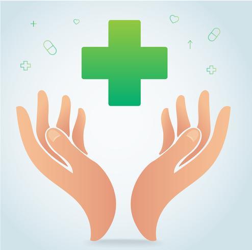 Hand, die medizinischen Ikonensymbolvektor, Gesundheitswesenkonzept hält vektor
