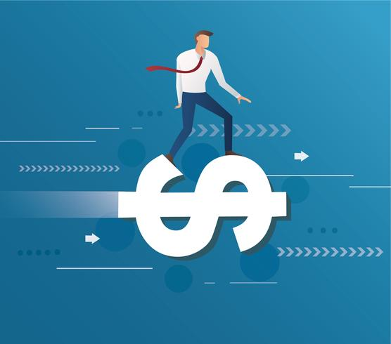 affärsman rida på dollar ikon och blå bakgrund, affärsidé illustration vektor