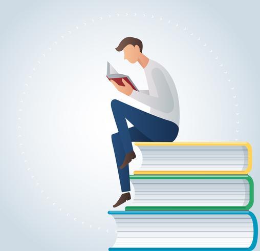 Mannlesebuch, das auf Vektorillustration vieler Bücher sitzt vektor