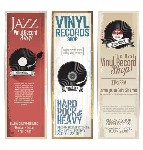 Retro- Schmutzfahne des Vinylaufzeichnungs-Shops vektor