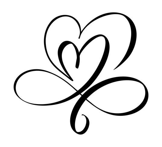 Hand gezeichnetes Liebeszeichen mit zwei Herzen. Romantische Kalligraphie-Vektor-Illustration. Concepn-Ikonensymbol für T-Shirt, Grußkarte, Plakathochzeit. Flaches Element des Designs des Valentinstags vektor