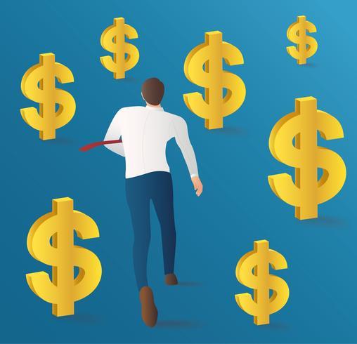 affärsman som kör med dollar mynt vektor. affärsidé illustration vektor