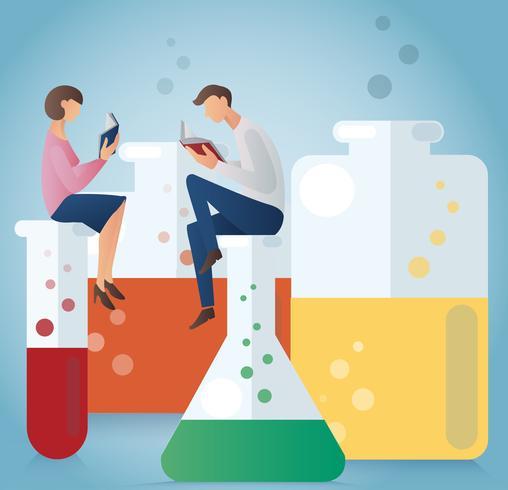 man och kvinna läser bok sitter på glasögon för kemisk vektor illustration