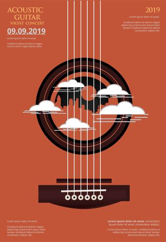 Gitarren-Konzert-Plakat-Hintergrund-Schablonen-Vektor-Illustration vektor