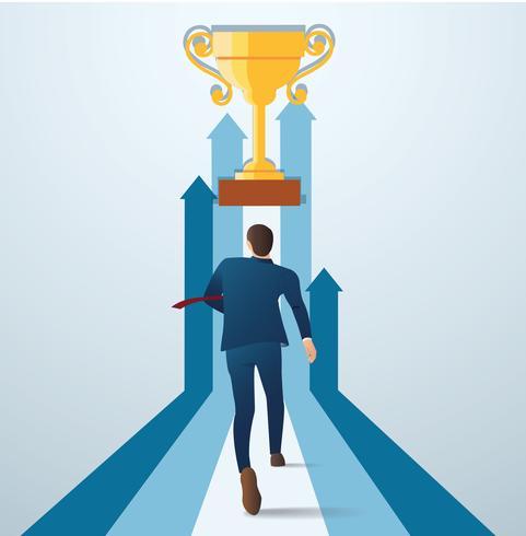 affärsman som kör till guld trofén. koncept av affärer framgångsrik vektor illustration