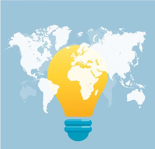 glödlampa ikon med karta bakgrund vektor illustration