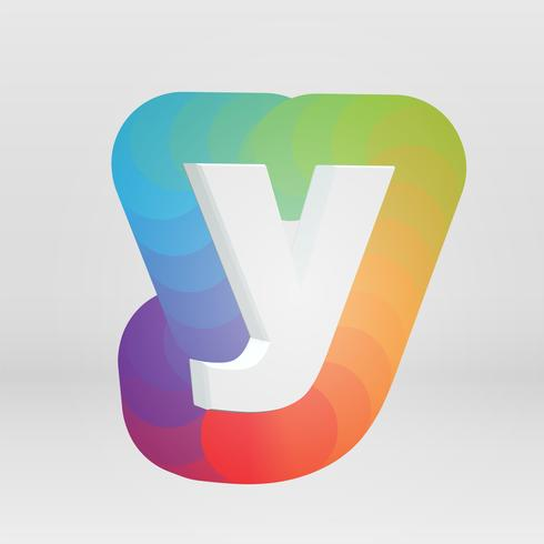 Charakter 3D von einem fontset mit buntem Hintergrund, Vektor illustartion