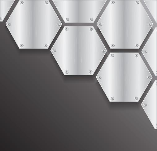 platta metall hexagon och utrymme svart bakgrund vektor illustration