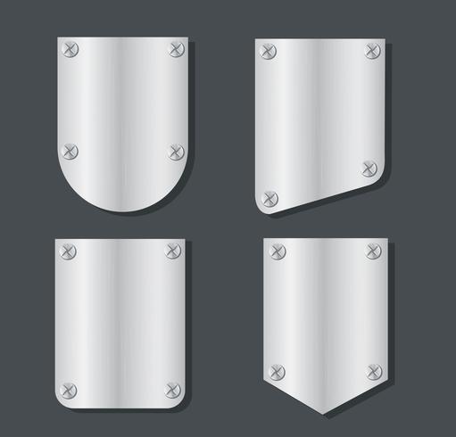Platte Metall Banner Set Vektor-Illustration vektor