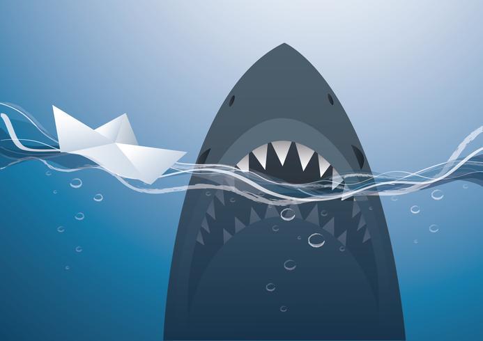 Papierboot und Haifisch in der blauen Seehintergrundvektorillustration vektor