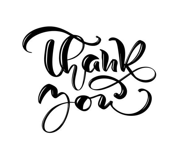 Danke, gezeichneten Vektortext zu übergeben. Modisches Handbeschriftungszitat, Modegraphiken, Vintager Kunstdruck für Poster und Grußkarten entwerfen. Kalligraphisch getrennt in der schwarzen Tintenabbildung vektor