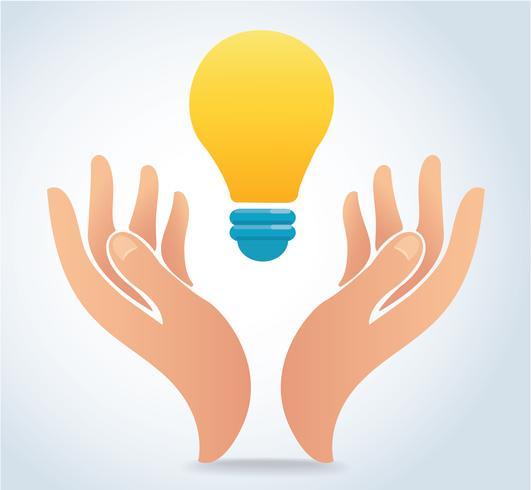 hand som håller glödlampa vektor