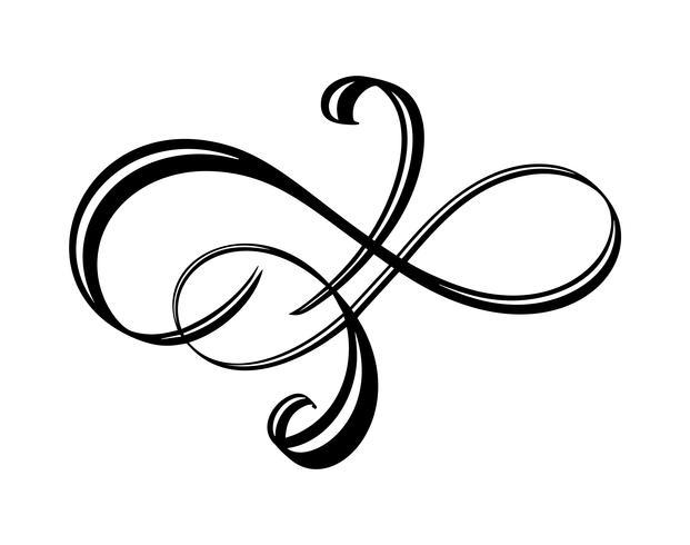 Vector floral Kalligraphie Element gedeihen. Übergeben Sie gezogenen Teiler für Seitendekoration und Rahmendesignillustrations-Strudelverzierung. Dekorative Silhouette für Hochzeitskarten und Einladungen