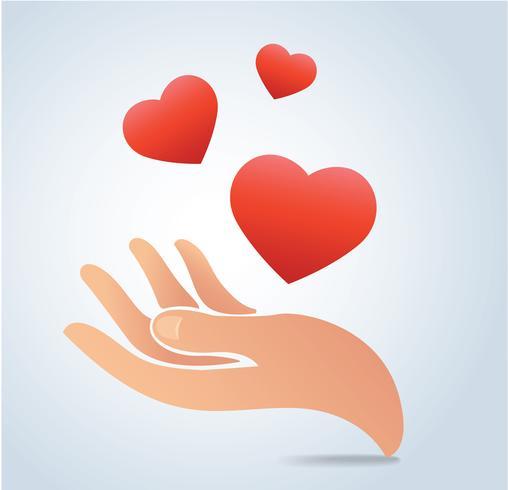Hand, die den Herzvektor hält vektor
