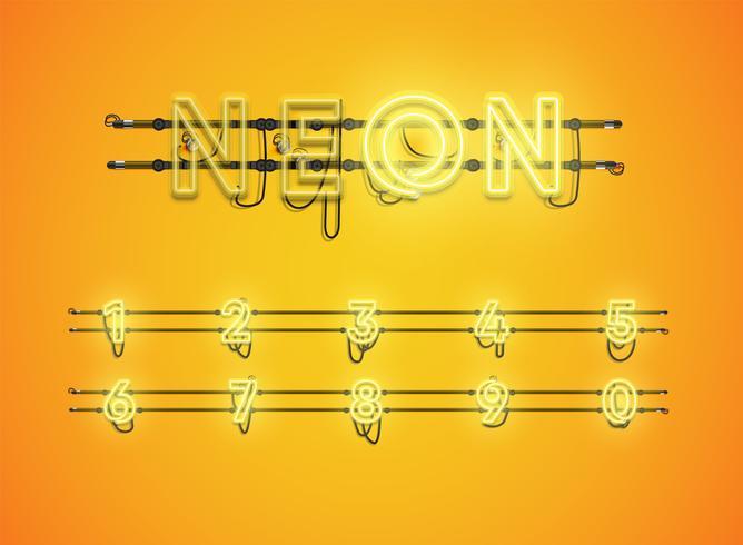 Realistisch leuchtend gelb Neon Charcter Set vektor