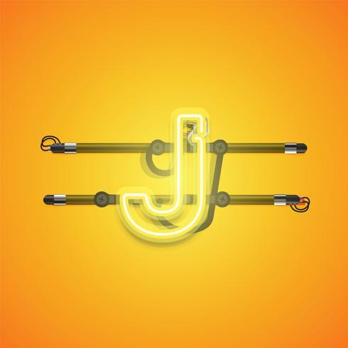 Realistischer glühender gelber Neoncharcter, Vektorillustration vektor