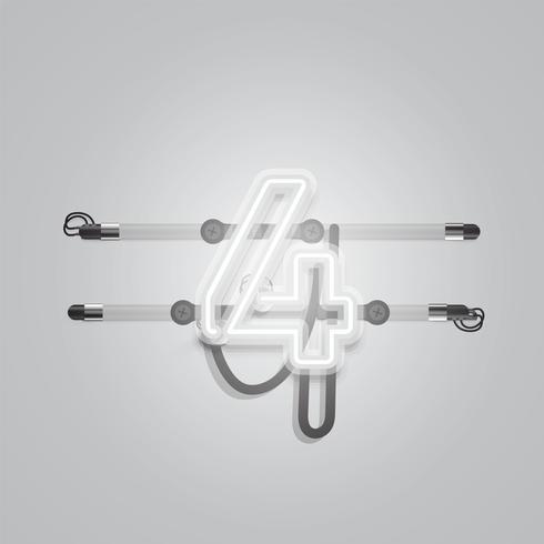 Realistischer glühender grauer Neoncharcter, Vektorillustration vektor