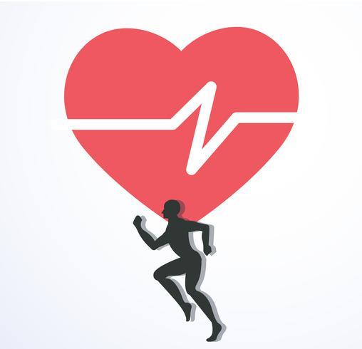 Laufen und rote Hitze mit Liniensymbol, laufen für Gesundheit Symbol Vektor