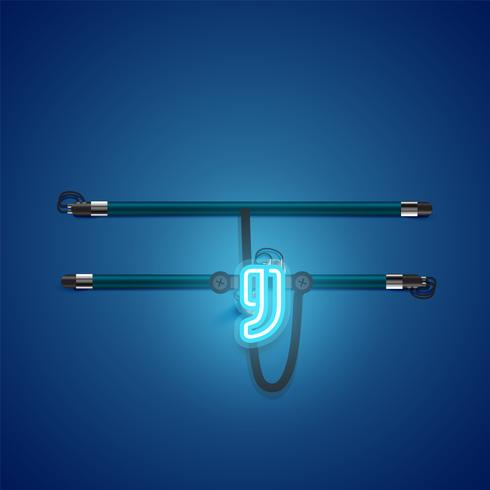 Realistisk glödande blå neon charcter, vektor illustration