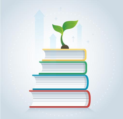 växt tillväxt på böcker ikonen design vektor illustration, utbildning begrepp