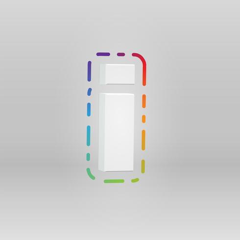3D-tecken från en fontset med färgstark bakgrund, vektor illustration