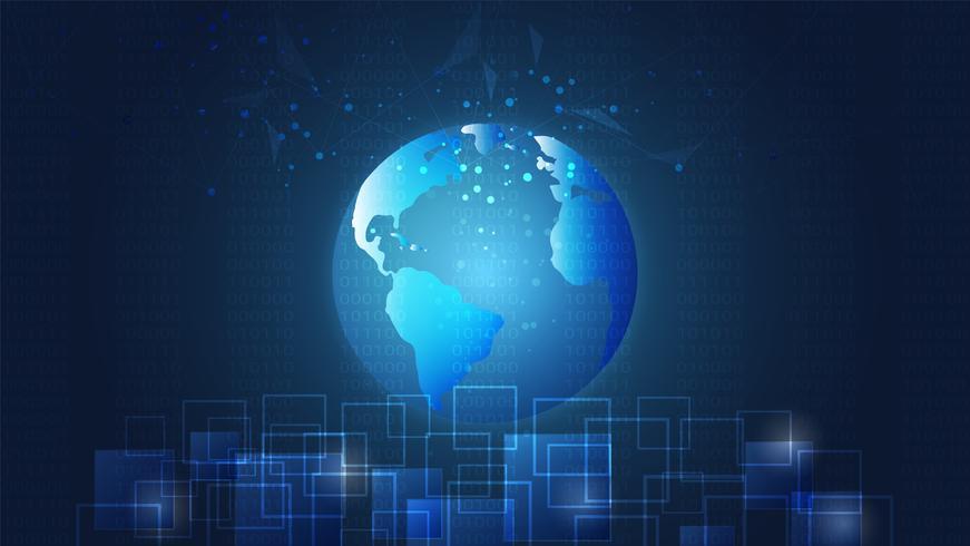 Global nätverksanslutning, digitala kretskort och världskarta bakgrund. vektor