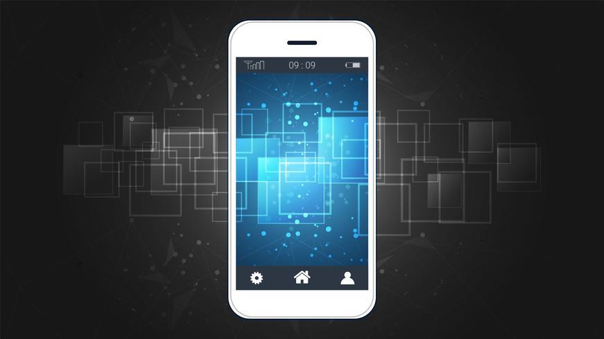 Smart telefon skärm som visar digital kretskort bakgrund. vektor