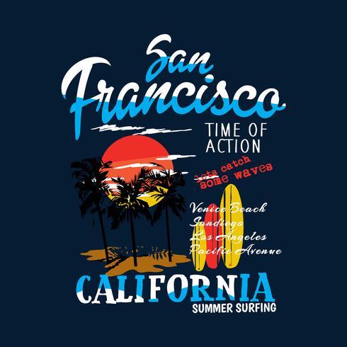 Kalifornien Sanfrancisco solnedgång t-shirt tryck vektor
