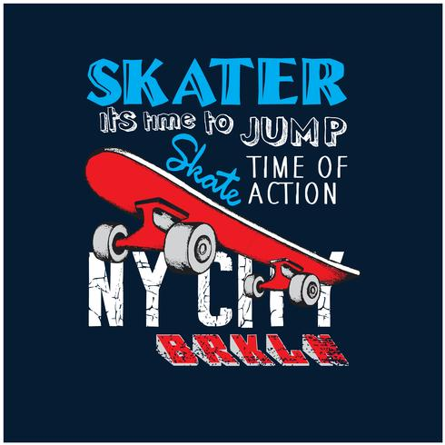 New York City skaters vektor illustration.Skateboards vektor tryck.