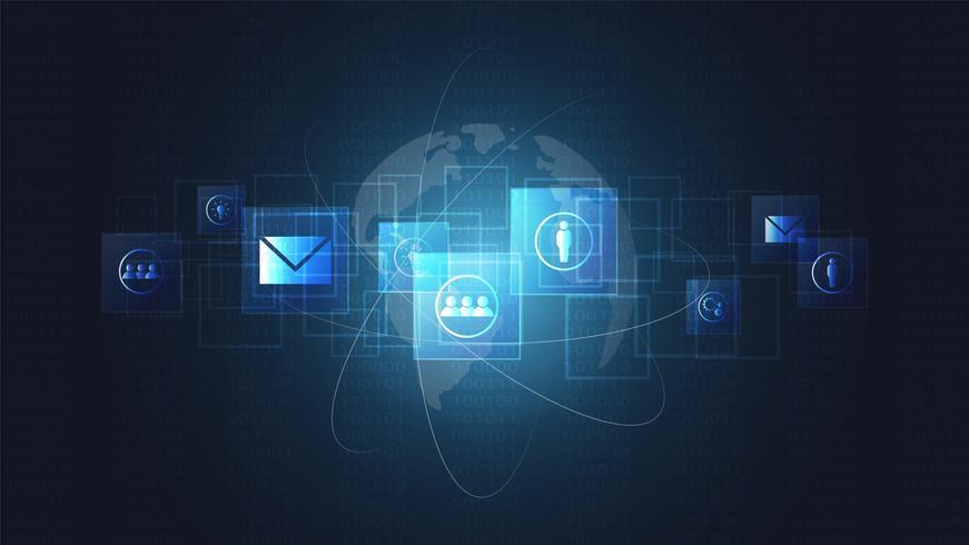 Global nätverksanslutning, digitala kretskort och ikonbakgrund. vektor