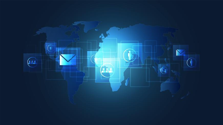 Globale Netzwerkverbindung, Digital-Leiterplatten mit Ikone und Weltkartenhintergrund. vektor