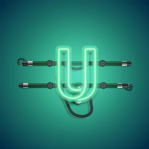 Realistischer glühender grüner Neoncharcter, Vektorillustration vektor