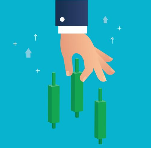Hand hält einen Candlestick-Börse-Symbol-Vektor vektor