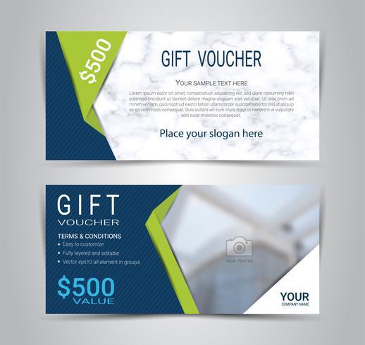 Presentkort och kuponger kort, rabatt kupong eller banner webb mall med marmor konsistens imitation. vektor