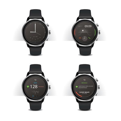 Smart Watch med Digital Display Set Vector Illustration