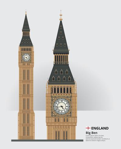 England Landmärke Big Ben och rese attraktioner Vektor illustration