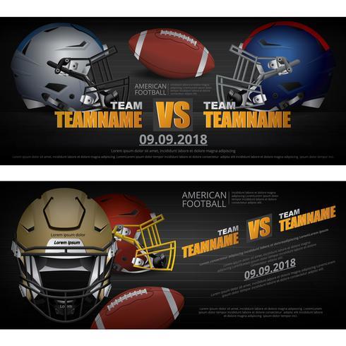 2 Banner Amerikansk fotboll Design Vector Illustration
