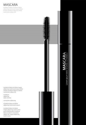 Poster Kosmetisk Mascara med Packaging Vector Illustration