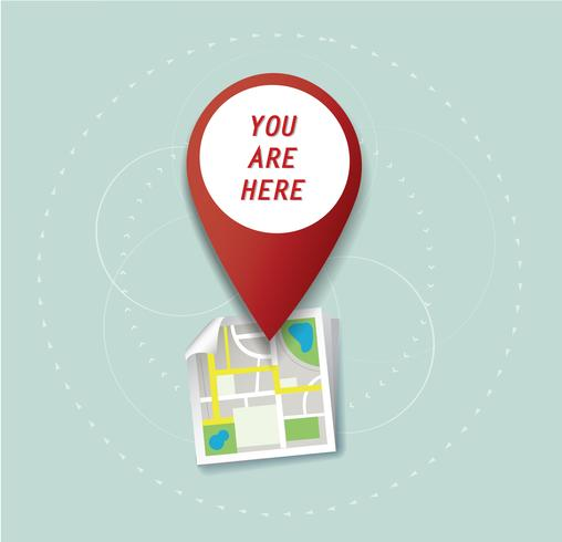 Sie sind hier, Pin-Standort-Symbol und Kartenvektor, das Konzept der Reise vektor