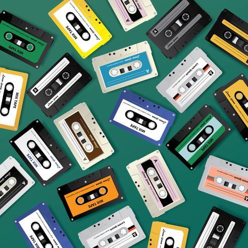 Vintage Retro Cassette Tape Pattern Design Mall Vektor Illustration